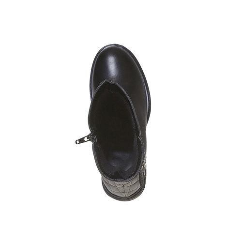 Stivali di pelle con cuciture mini-b, nero, 394-6235 - 19