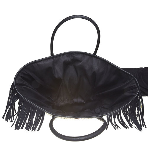 Borsetta Shopper con frange bata, nero, 969-6449 - 15