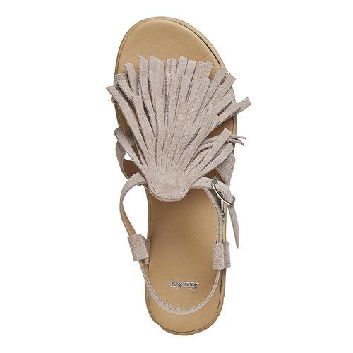 Sandali con frange e flatform bata, grigio, 663-2223 - 19