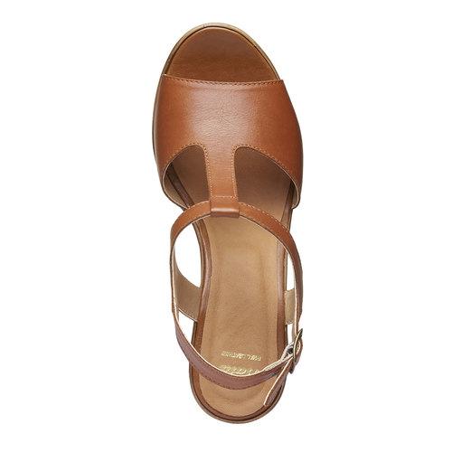 Sandali da donna con tacco massiccio bata, marrone, 764-4509 - 19