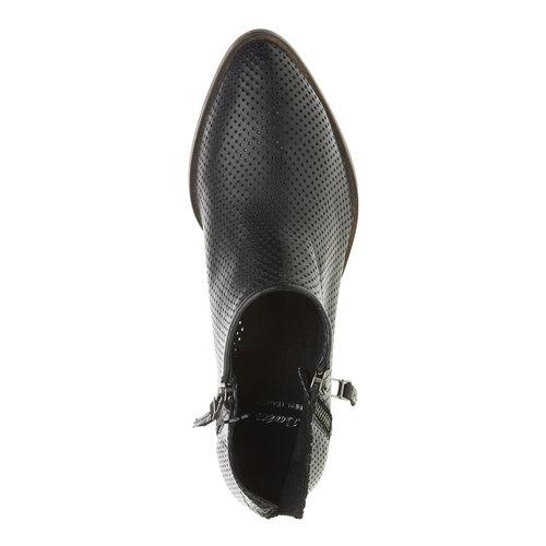 Stivaletti di pelle alla caviglia con perforazioni bata, nero, 594-6400 - 19