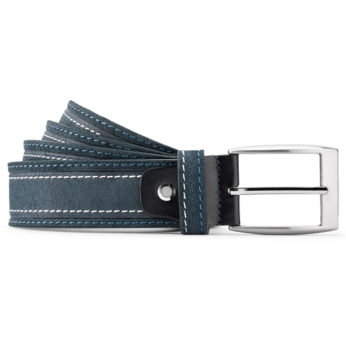 Cintura di pelle con cuciture bata, blu, 953-9112 - 13