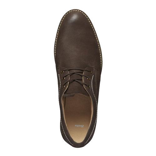 Scarpe basse di pelle con cuciture appariscenti bata, marrone, 826-4642 - 19