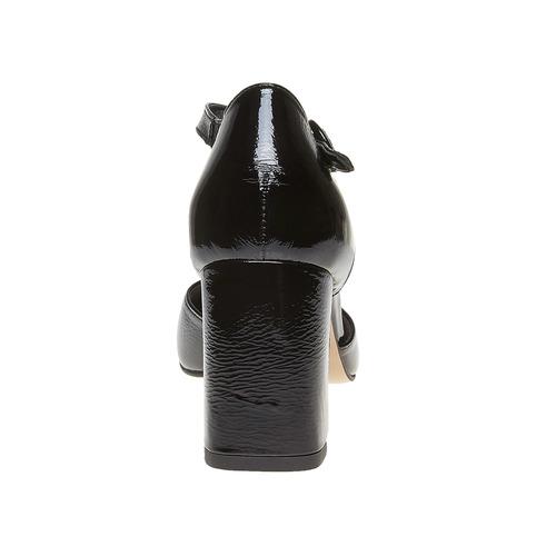 Sandali verniciati in pelle con punta chiusa bata, nero, 728-6372 - 17