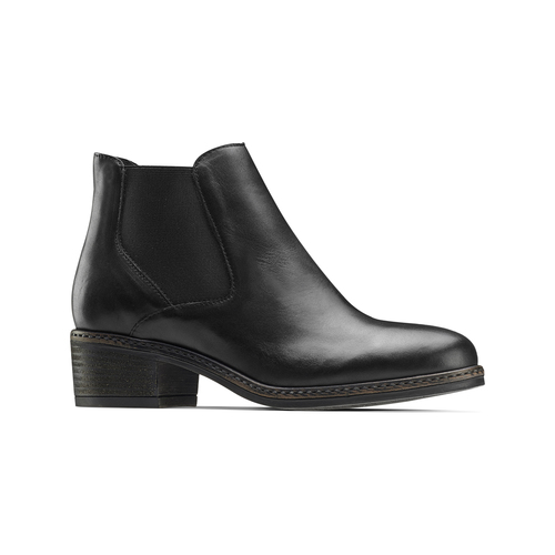 Scarpe in pelle alla caviglia con lati elastici bata, nero, 694-6382 - 13