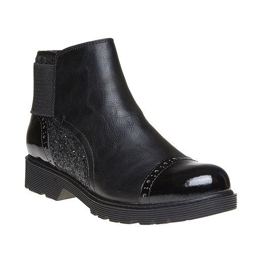 Scarpe da donna alla caviglia con glitter bata, nero, 591-6539 - 13