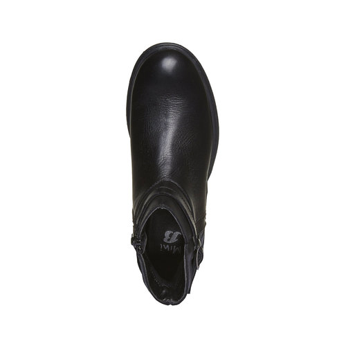 Stivaletti in pelle alla caviglia con cuciture mini-b, nero, 394-6233 - 19