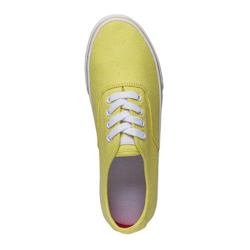 Sneakers di tela con suola bianca north-star, giallo, 549-8221 - 19