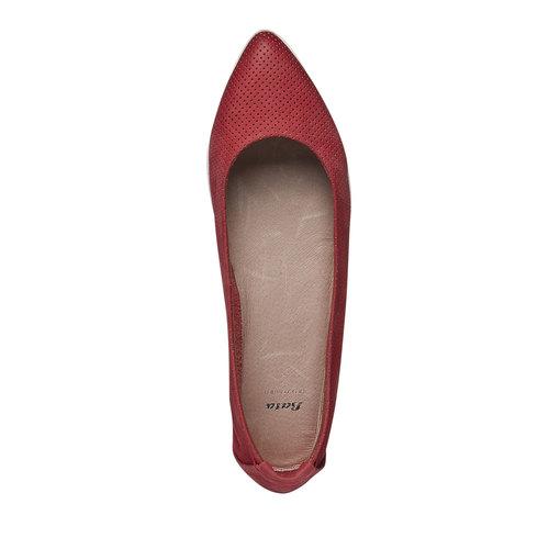 Ballerine di pelle con perforazioni bata-light, rosso, 526-5486 - 19