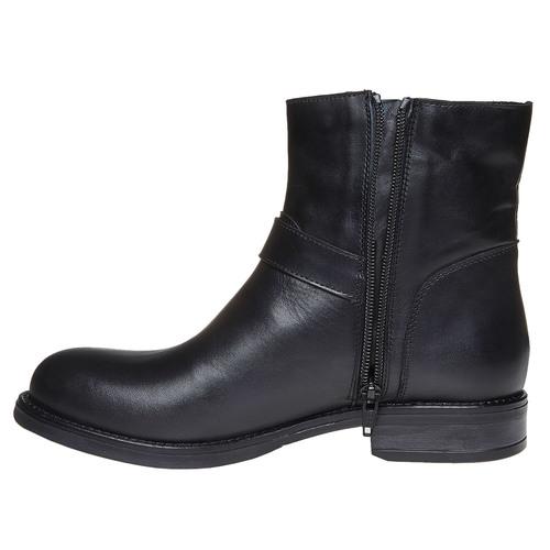 Stivaletti alla caviglia in pelle con fibbie bata, nero, 594-6112 - 19