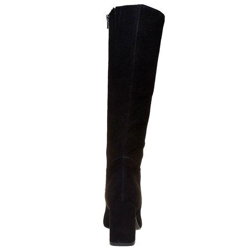 Stivali in pelle con tacco a cono bata, nero, 793-6577 - 17