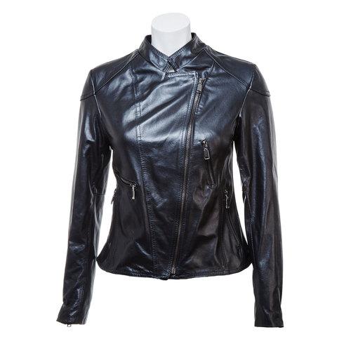 Giacca da donna in pelle con cerniere bata, nero, 974-6162 - 13
