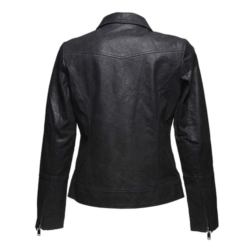 Giacca da donna in pelle con colletto bata, nero, 973-6107 - 26