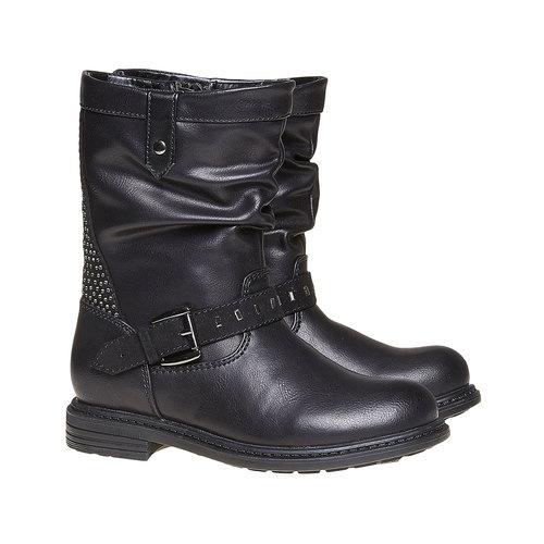 Stivali da ragazza con strass mini-b, nero, 291-6158 - 26