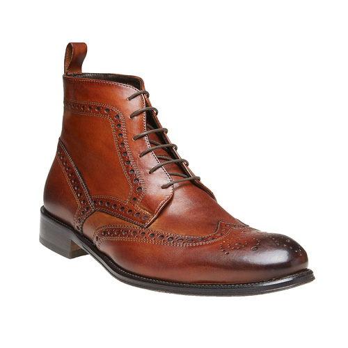 Scarpe in pelle sopra la caviglia con decorazione Brogue bata-the-shoemaker, marrone, 824-3179 - 13