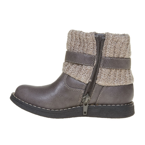Scarpe da bambino con orlo in tessuto a maglia mini-b, grigio, 291-2154 - 19