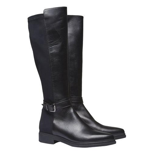 Stivali di pelle bata, nero, 594-6179 - 26