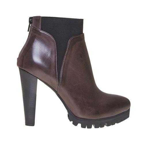 Stivaletti in pelle alla caviglia bata, grigio, 794-2596 - 15