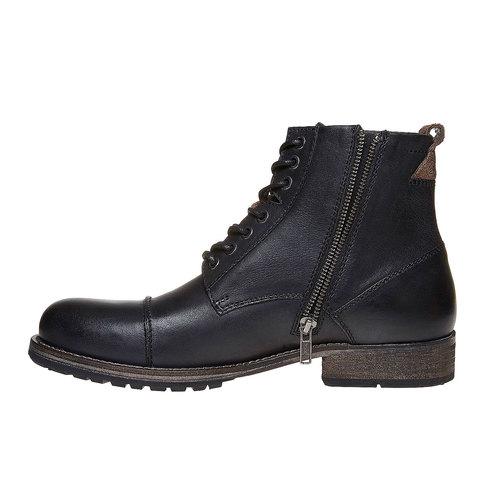 Scarpe alla caviglia da uomo in pelle bata, nero, 894-6518 - 19