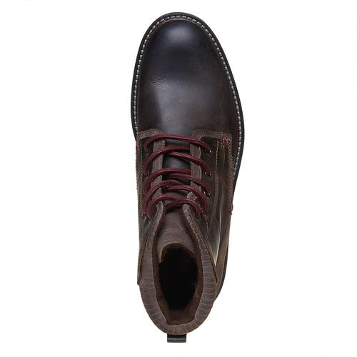 Scarpe di pelle alla caviglia bata, marrone, 894-4271 - 19