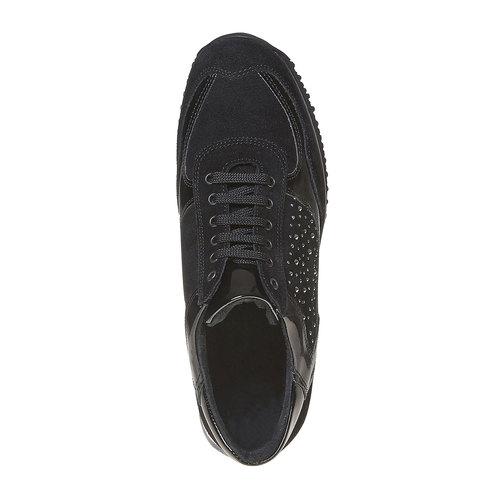 Sneakers in pelle da donna con strass bata, nero, 523-6578 - 19