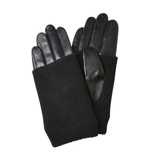 Guanti di pelle con dettaglio in un tessuto a maglia bata, nero, 904-6125 - 13