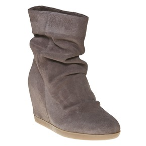 Stivali di pelle con tacco a zeppa bata, grigio, 793-2618 - 13