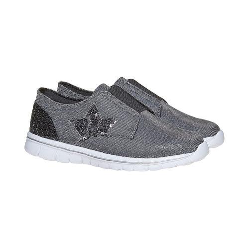 Sneakers da ragazza con strass mini-b, grigio, 329-2214 - 26