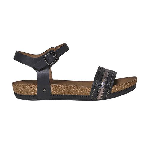Sandali da donna dalla suola appariscente bata, nero, 561-6404 - 15