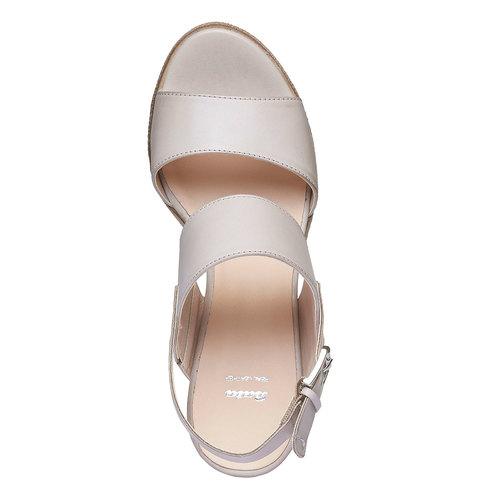 Sandali di pelle con tacco ampio bata, grigio, 664-2205 - 19