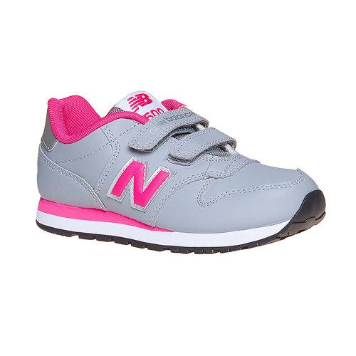 Sneakers da bambina con chiusure a velcro new-balance, grigio, 301-2500 - 13