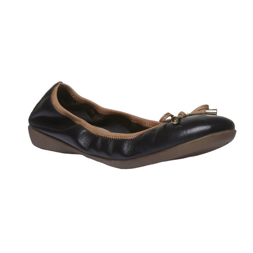 Ballerine nere di pelle bata, nero, 524-6485 - 13