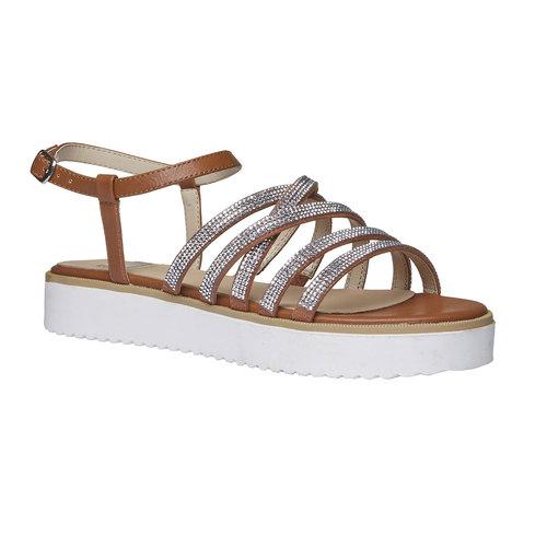 Sandali da donna con strisce e flatform bata, marrone, 561-3226 - 13