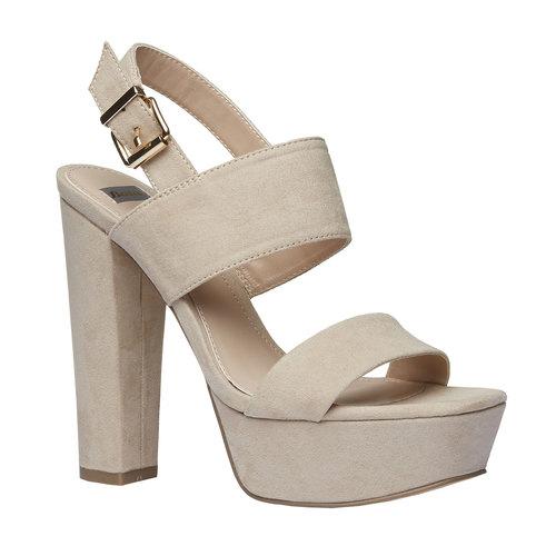 Sandali da donna con tacco massiccio bata, beige, 769-8541 - 13