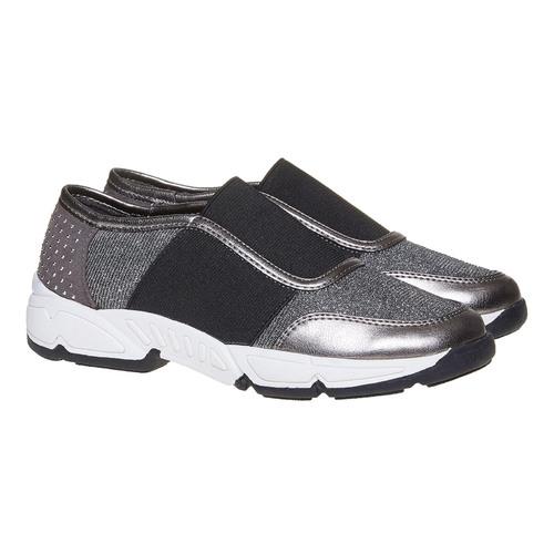 Slip-on da bambina con borchie mini-b, grigio, 329-2218 - 26
