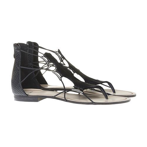 Sandali da donna con striscia sul collo del piede bata, nero, 561-6307 - 26