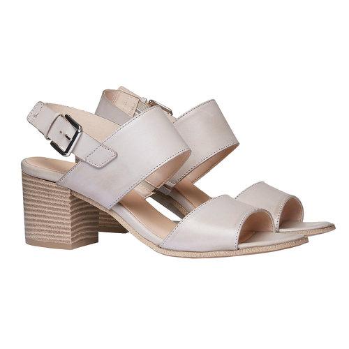 Sandali di pelle con tacco ampio bata, grigio, 664-2205 - 26