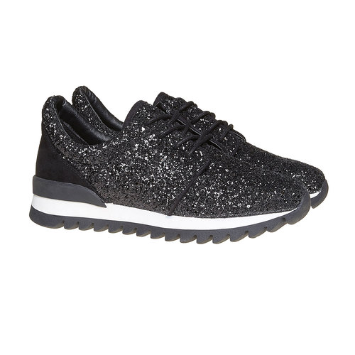 Sneakers nere da donna con glitter north-star, nero, 549-6262 - 26