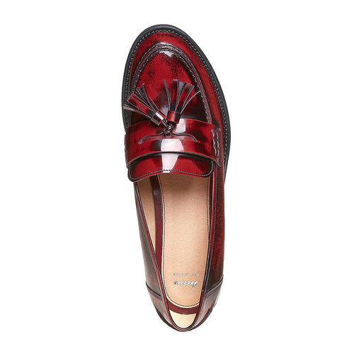 Loafers in pelle con nappe bata, rosso, 514-5246 - 19
