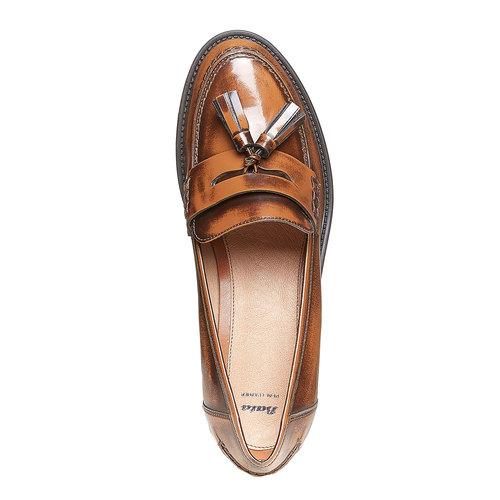 Loafers da donna in pelle con nappe bata, marrone, 514-3246 - 19
