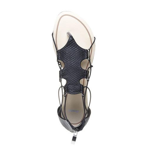 Sandali da donna con striscia sul collo del piede bata, nero, 561-6307 - 19