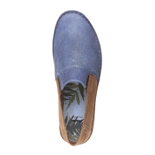 Slip-on da uomo in pelle bata, blu, marrone, 854-9149 - 19