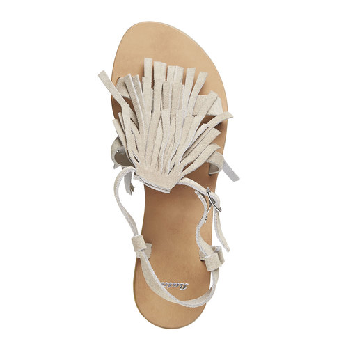 Sandali di pelle con nappe bata, giallo, 563-8130 - 19