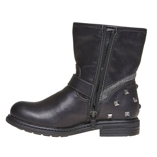 Scarpe da ragazza alla caviglia con cerniera mini-b, nero, 291-6153 - 19