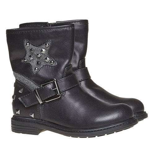 Scarpe da ragazza alla caviglia con cerniera mini-b, nero, 291-6153 - 26
