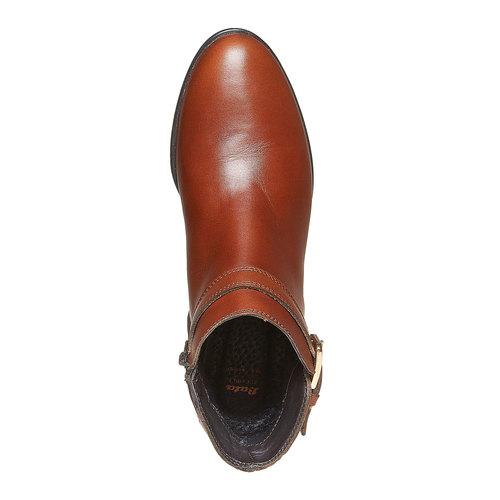 Scarpe di pelle alla caviglia con cuciture bata, marrone, 594-3167 - 19