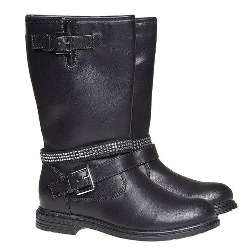 Stivali da ragazza con strass mini-b, nero, 391-6250 - 26