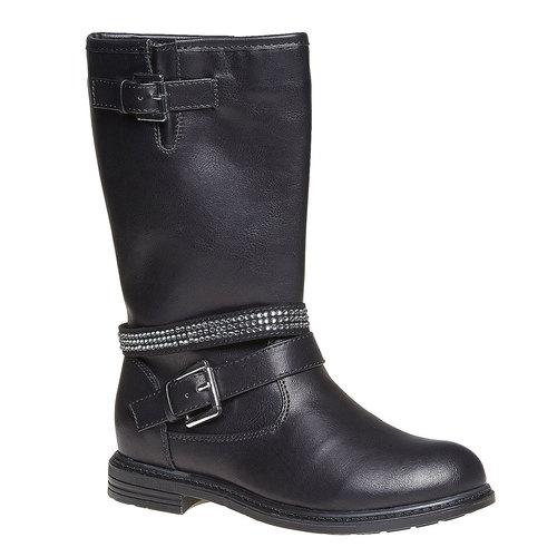 Stivali da ragazza con strass mini-b, nero, 391-6250 - 13