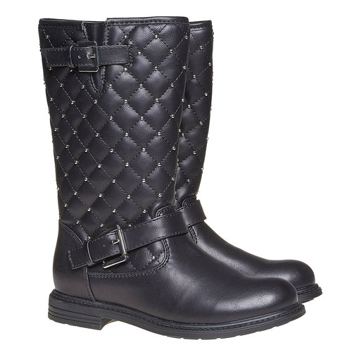 Stivali da ragazza con cuciture mini-b, nero, 391-6252 - 26