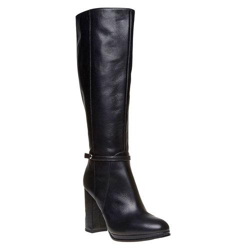 Stivali in pelle con tacco alto bata, nero, 794-6534 - 13